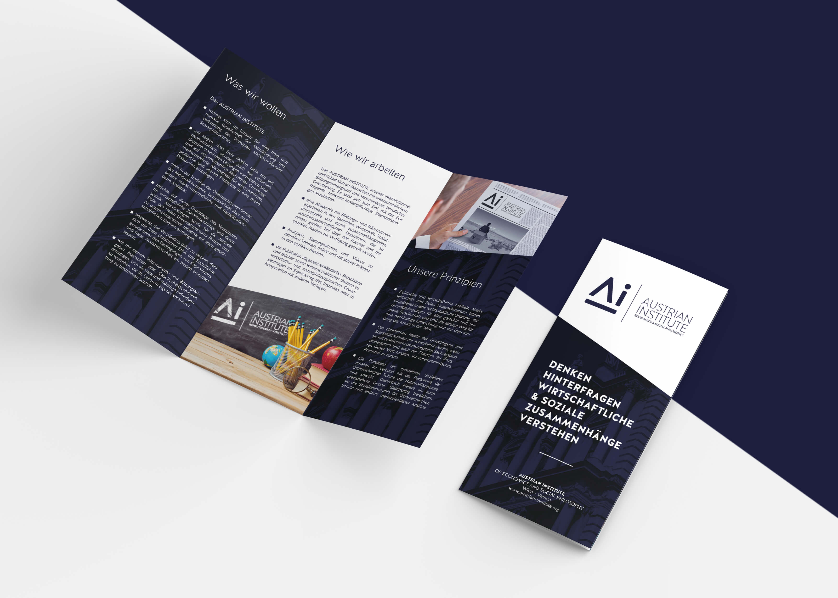 Austrian Institute Trifold Brochure Grafikdesign