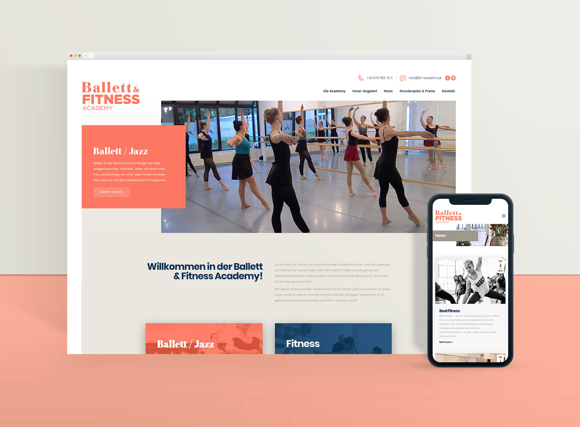 Ballett und Fitness Academy Web Grafikdesign